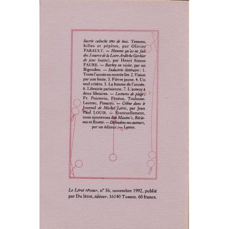 Le Lérot rêveur n°56 – novembre 1992. Sacrée caboche tête de bois