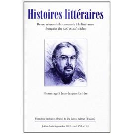 HISTOIRES LITTERAIRES 63 - Juillet-Août-Septembre 2015