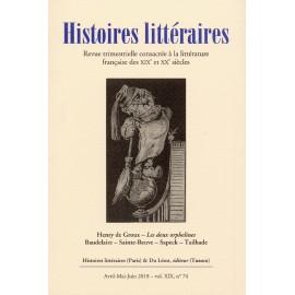 HISTOIRES LITTERAIRES 74 - 2018