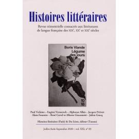 HISTOIRES LITTERAIRES N° 83 - 2020